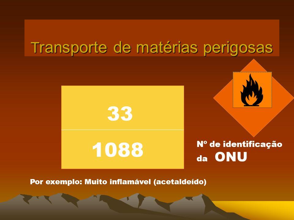T ransporte de matérias perigosas 33 Nº de identificação da ONU Por exemplo: Muito inflamável (acetaldeído) 1088
