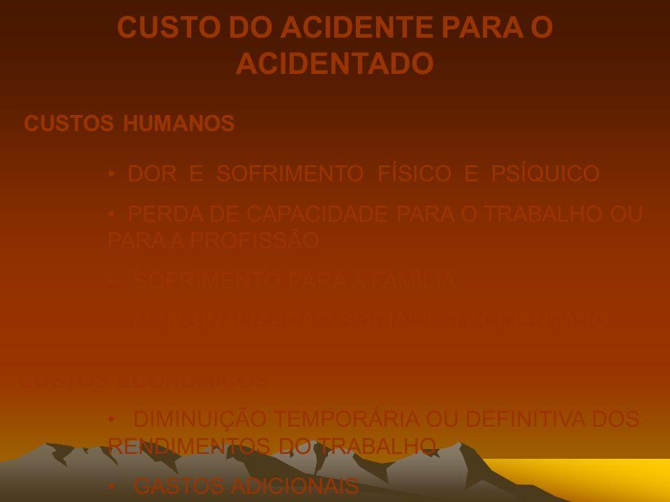 CUSTO DO ACIDENTE PARA O ACIDENTADO CUSTOS HUMANOS DOR E SOFRIMENTO FÍSICO E PSÍQUICO PERDA DE CAPACIDADE PARA O TRABALHO OU PARA A PROFISSÃO SOFRIMEN