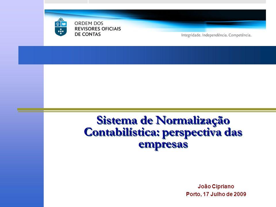 Sistema de Normalização Contabilística: perspectiva das empresas João Cipriano Porto, 17 Julho de 2009