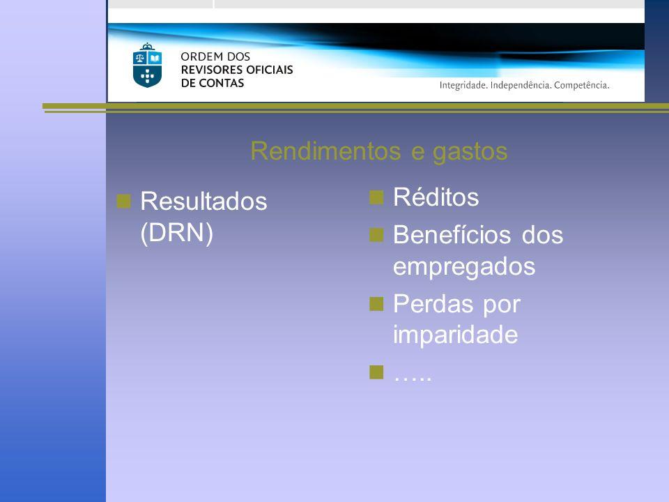 Rendimentos e gastos Resultados (DRN) Réditos Benefícios dos empregados Perdas por imparidade …..