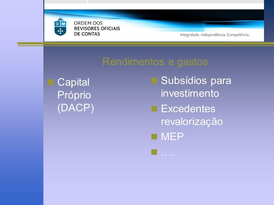 Rendimentos e gastos Capital Próprio (DACP) Subsídios para investimento Excedentes revalorização MEP ….