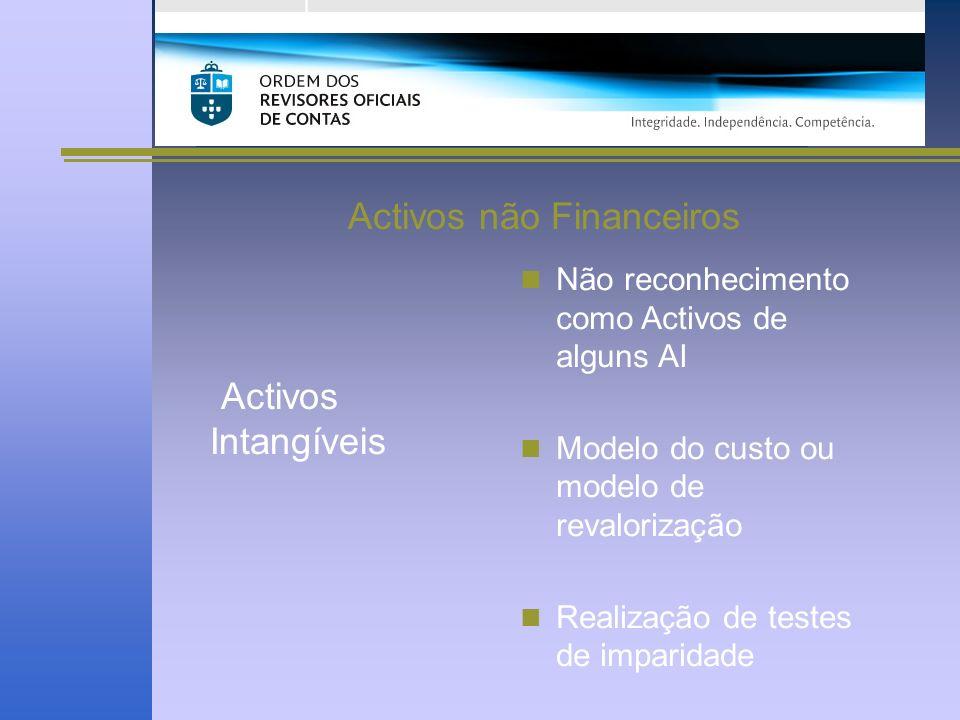 Activos não Financeiros Activos Intangíveis Não reconhecimento como Activos de alguns AI Modelo do custo ou modelo de revalorização Realização de testes de imparidade