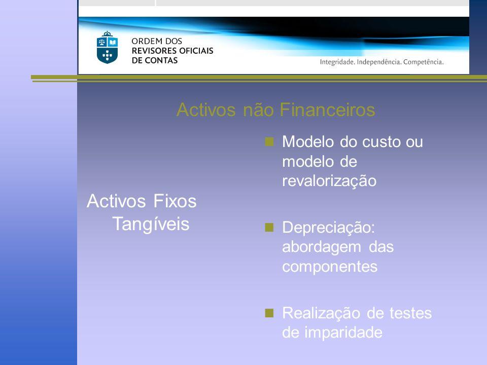 Activos não Financeiros Activos Fixos Tangíveis Modelo do custo ou modelo de revalorização Depreciação: abordagem das componentes Realização de testes de imparidade