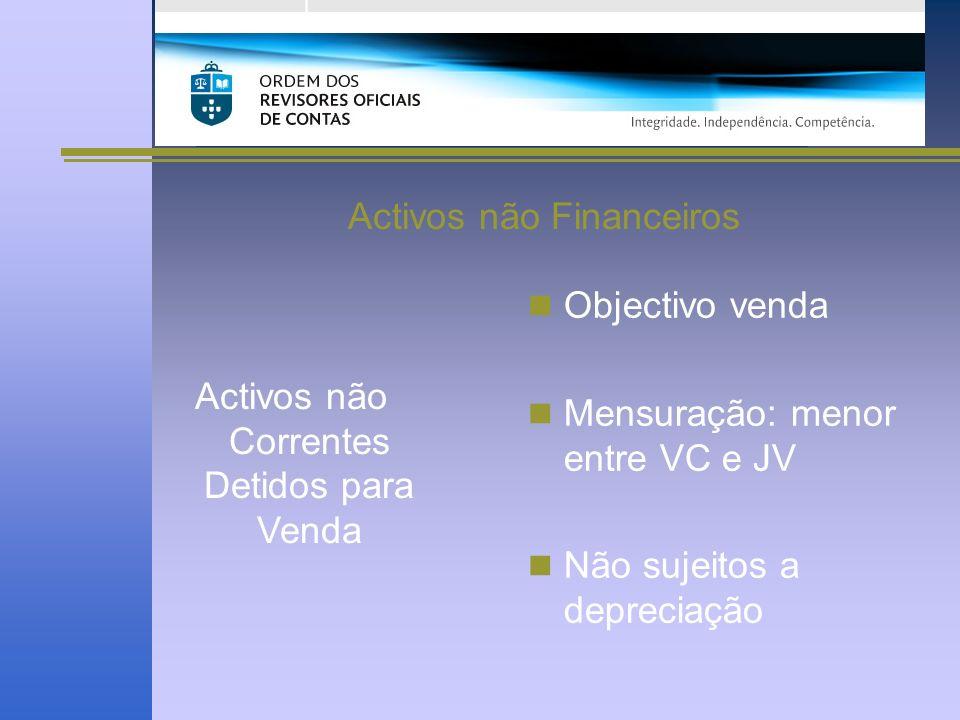 Activos não Financeiros Activos não Correntes Detidos para Venda Objectivo venda Mensuração: menor entre VC e JV Não sujeitos a depreciação