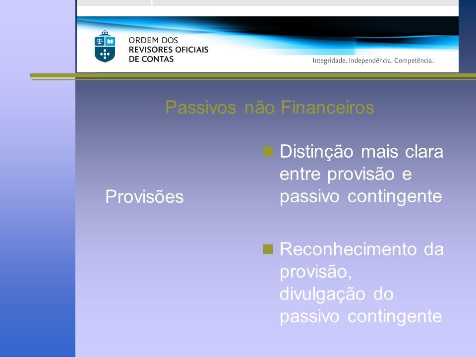 Passivos não Financeiros Provisões Distinção mais clara entre provisão e passivo contingente Reconhecimento da provisão, divulgação do passivo contingente