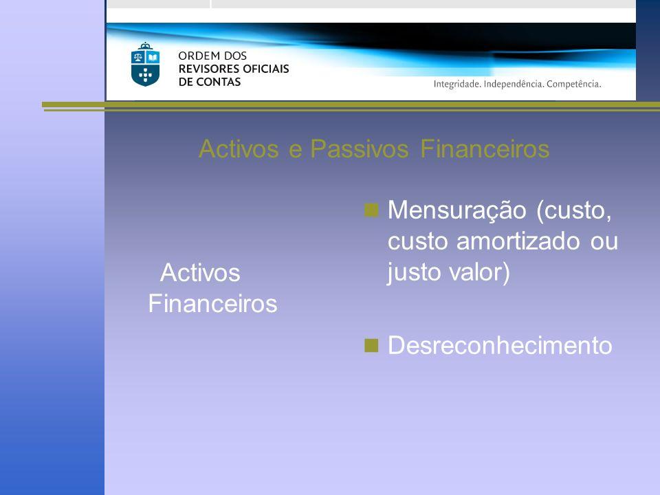 Activos e Passivos Financeiros Activos Financeiros Mensuração (custo, custo amortizado ou justo valor) Desreconhecimento