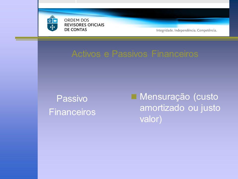 Activos e Passivos Financeiros Passivo Financeiros Mensuração (custo amortizado ou justo valor)