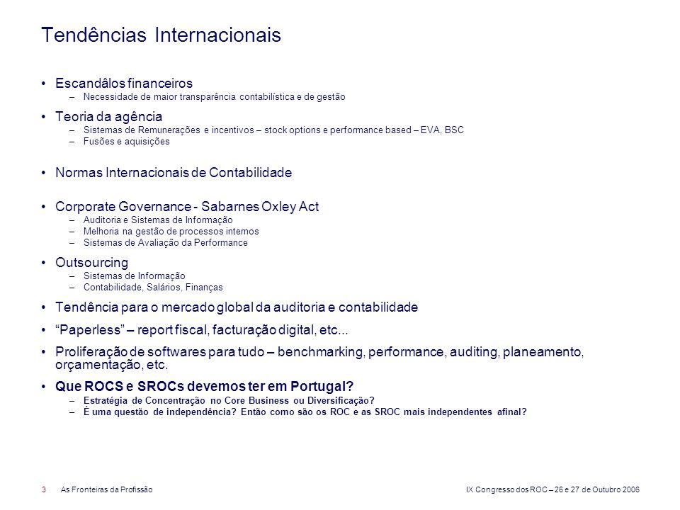 IX Congresso dos ROC – 26 e 27 de Outubro 2006 4As Fronteiras da Profissão Legislação Nacional Revisão de Contas e matérias afins: –Consultoria –Formação Consultoria e formação profissional: –Fiscal –Corporate finance –Fusões e aquisições –Avaliação de empresas –Reestruturação de empresas –Etc.