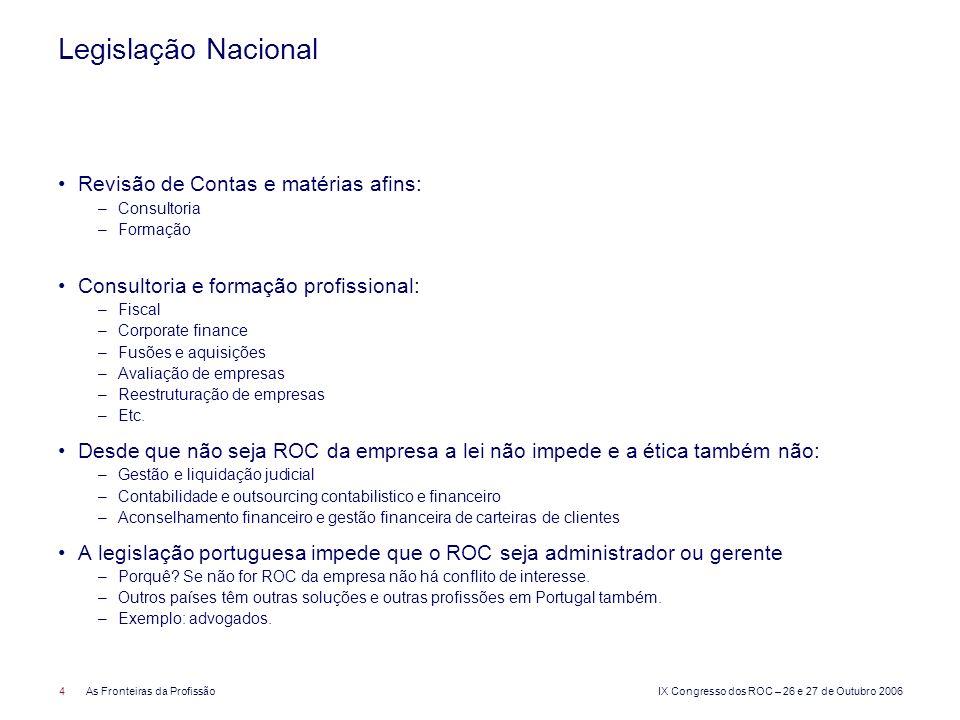 IX Congresso dos ROC – 26 e 27 de Outubro 2006 4As Fronteiras da Profissão Legislação Nacional Revisão de Contas e matérias afins: –Consultoria –Forma