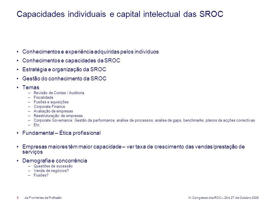 IX Congresso dos ROC – 26 e 27 de Outubro 2006 5As Fronteiras da Profissão Capacidades individuais e capital intelectual das SROC Conhecimentos e expe