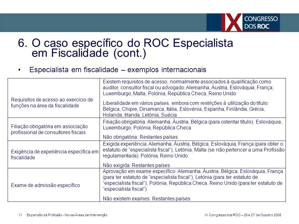 IX Congresso dos ROC – 26 e 27 de Outubro 2006 11Expansão da Profissão - Novas Áreas de Intervenção Especialista em fiscalidade – exemplos internacion