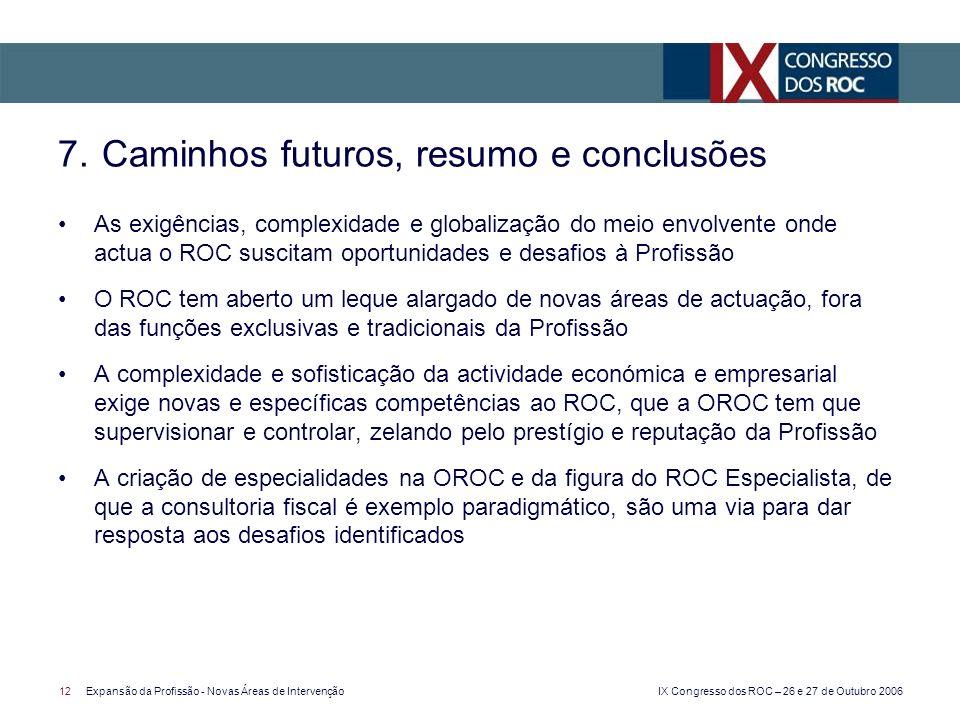 IX Congresso dos ROC – 26 e 27 de Outubro 2006 12Expansão da Profissão - Novas Áreas de Intervenção As exigências, complexidade e globalização do meio