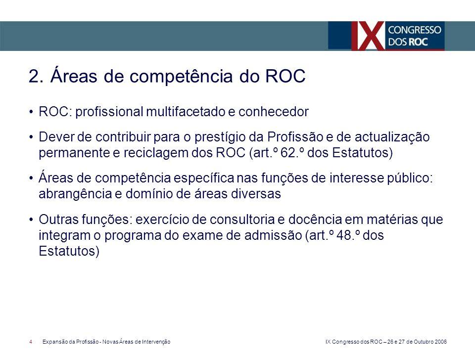 IX Congresso dos ROC – 26 e 27 de Outubro 2006 4Expansão da Profissão - Novas Áreas de Intervenção ROC: profissional multifacetado e conhecedor Dever