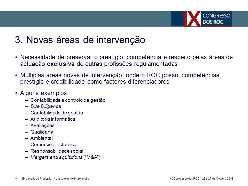 IX Congresso dos ROC – 26 e 27 de Outubro 2006 6Expansão da Profissão - Novas Áreas de Intervenção Necessidade de preservar o prestígio, competência e