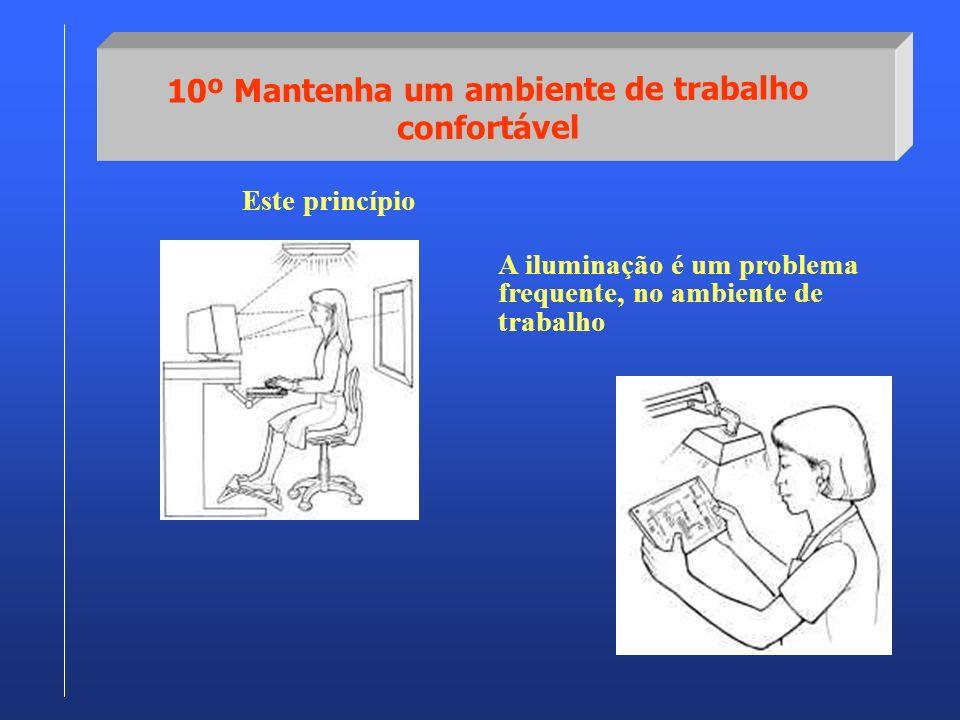 10º Mantenha um ambiente de trabalho confortável Este princípio A iluminação é um problema frequente, no ambiente de trabalho