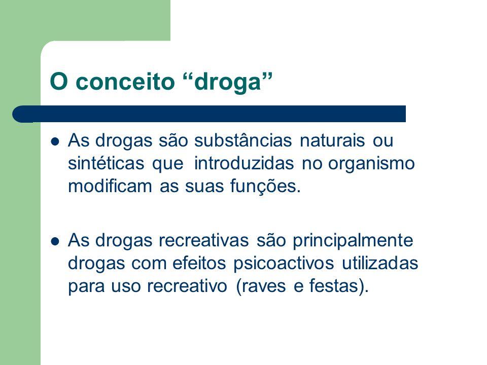 O conceito droga As drogas são substâncias naturais ou sintéticas que introduzidas no organismo modificam as suas funções. As drogas recreativas são p
