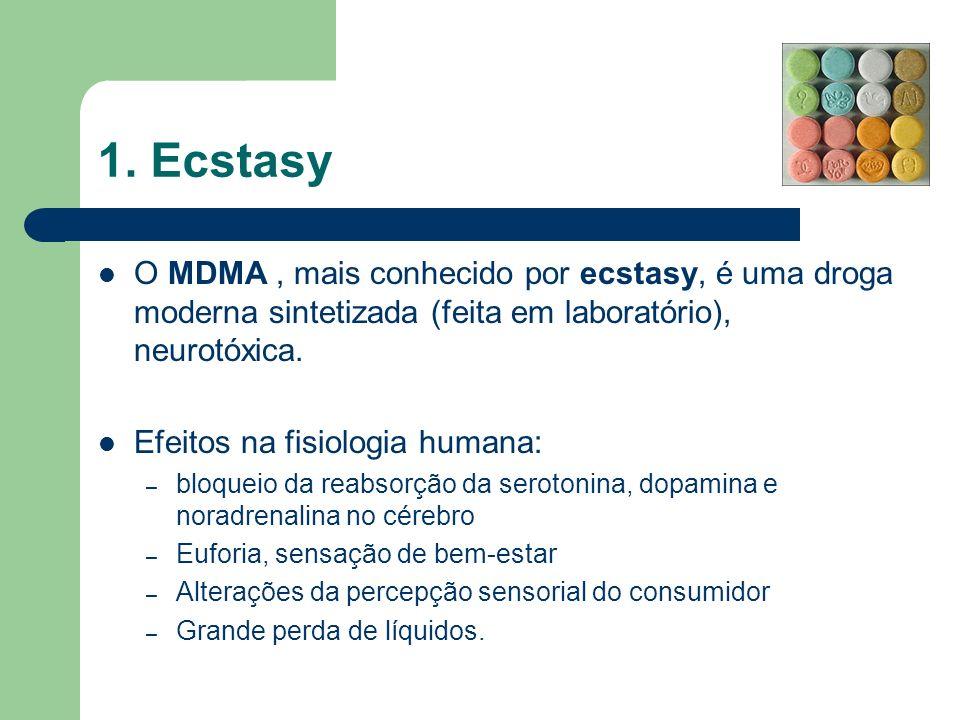 1. Ecstasy O MDMA, mais conhecido por ecstasy, é uma droga moderna sintetizada (feita em laboratório), neurotóxica. Efeitos na fisiologia humana: – bl