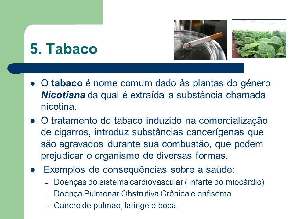 5. Tabaco O tabaco é nome comum dado às plantas do género Nicotiana da qual é extraída a substância chamada nicotina. O tratamento do tabaco induzido