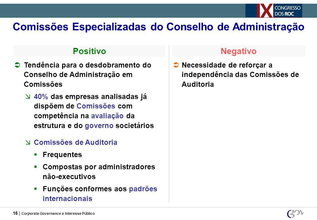 16 | Corporate Governance e Interesse Público Comissões Especializadas do Conselho de Administração Tendência para o desdobramento do Conselho de Admi