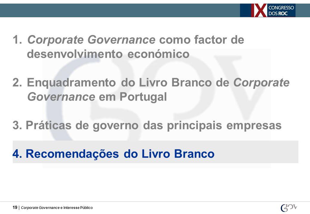19 | Corporate Governance e Interesse Público 1.Corporate Governance como factor de desenvolvimento económico 2.Enquadramento do Livro Branco de Corpo