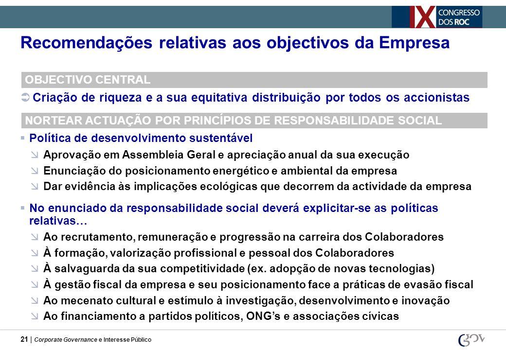 21 | Corporate Governance e Interesse Público Recomendações relativas aos objectivos da Empresa OBJECTIVO CENTRAL Criação de riqueza e a sua equitativ