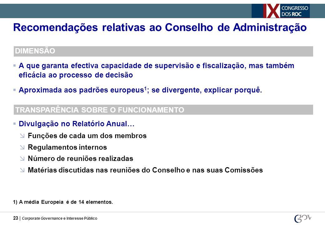 23 | Corporate Governance e Interesse Público Recomendações relativas ao Conselho de Administração DIMENSÃO A que garanta efectiva capacidade de super