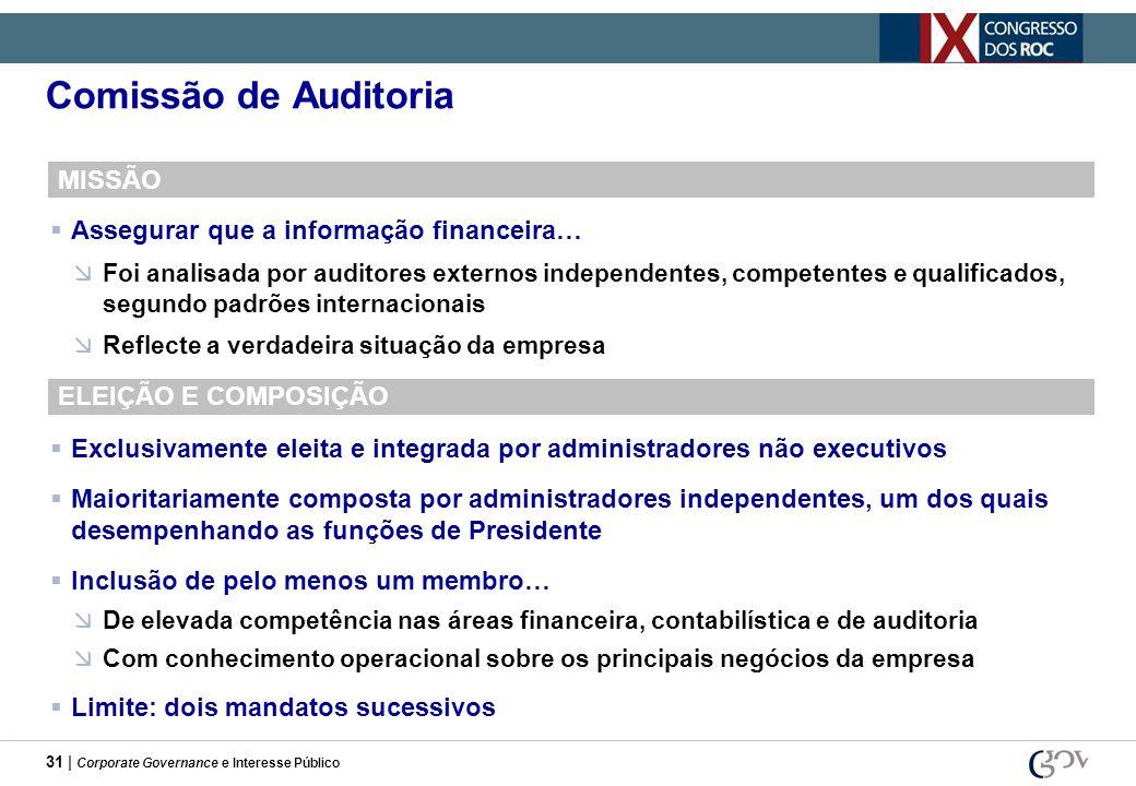 31 | Corporate Governance e Interesse Público Comissão de Auditoria MISSÃO Assegurar que a informação financeira… Foi analisada por auditores externos
