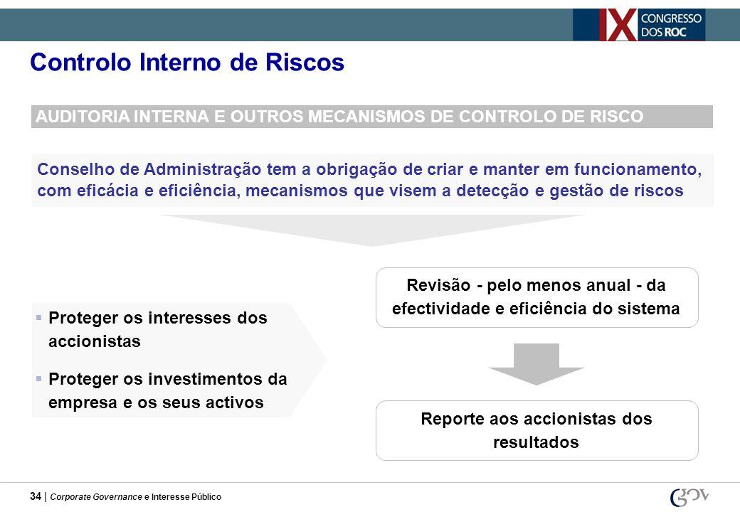34 | Corporate Governance e Interesse Público Controlo Interno de Riscos AUDITORIA INTERNA E OUTROS MECANISMOS DE CONTROLO DE RISCO Conselho de Admini