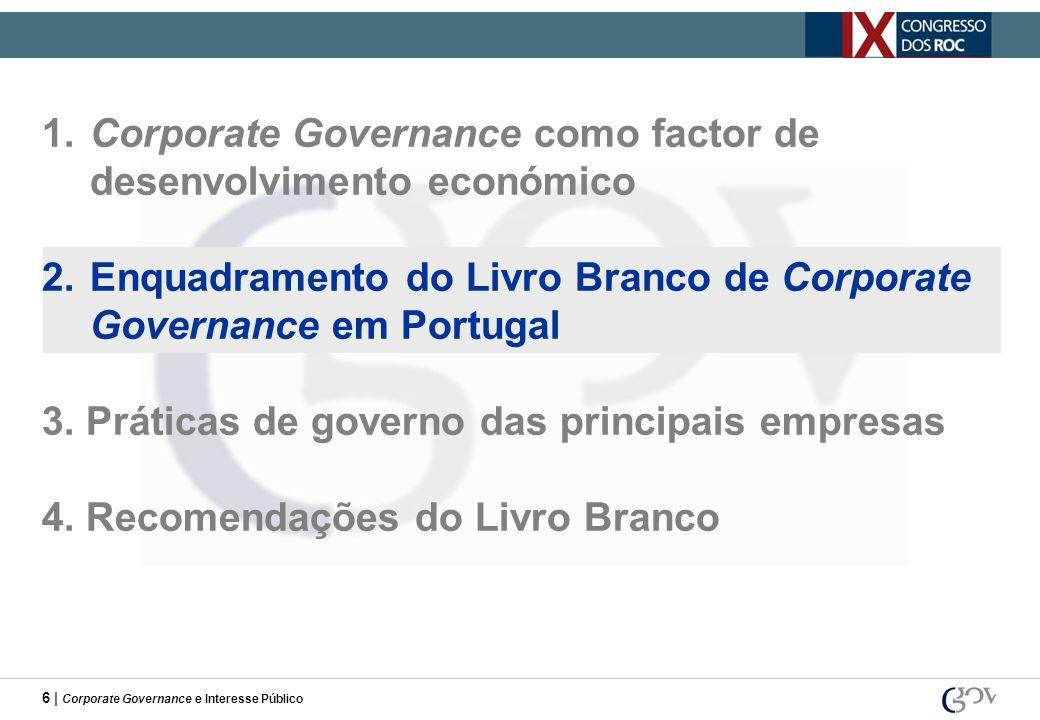 6 | Corporate Governance e Interesse Público 1.Corporate Governance como factor de desenvolvimento económico 2.Enquadramento do Livro Branco de Corpor