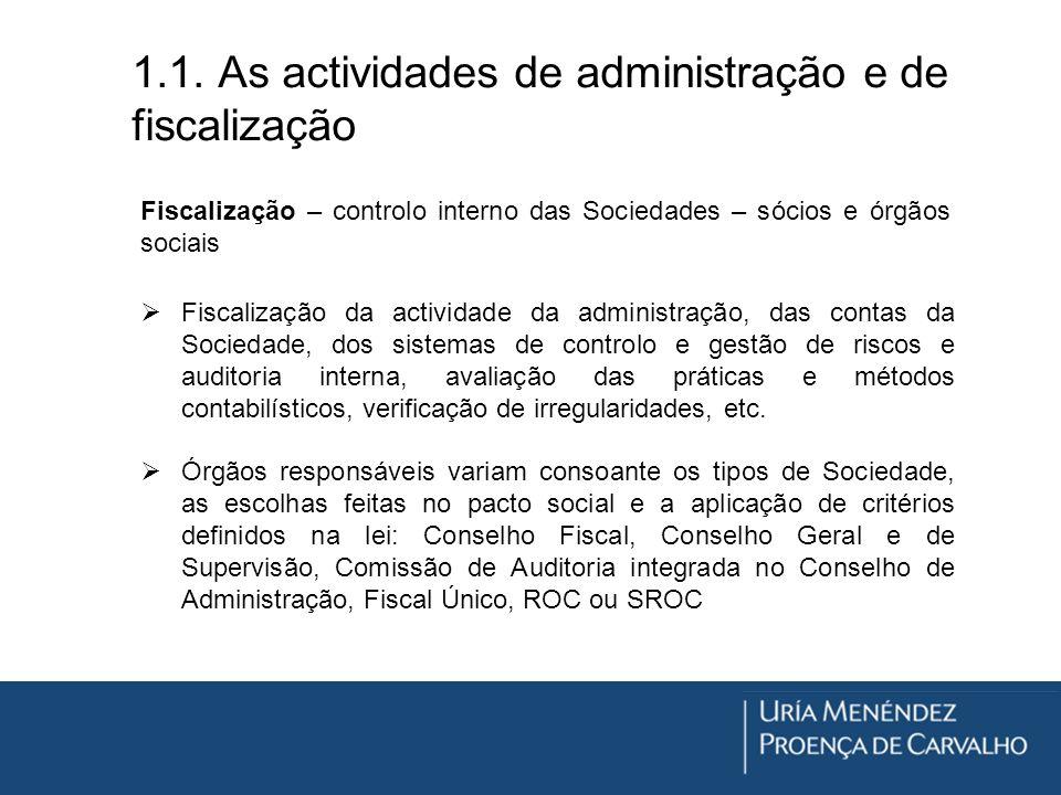 1.1. As actividades de administração e de fiscalização Fiscalização – controlo interno das Sociedades – sócios e órgãos sociais Fiscalização da activi