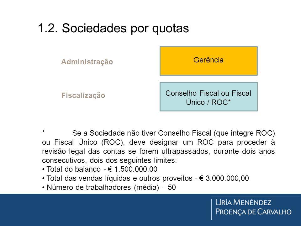 1.2. Sociedades por quotas Gerência Conselho Fiscal ou Fiscal Único / ROC* * Se a Sociedade não tiver Conselho Fiscal (que integre ROC) ou Fiscal Únic