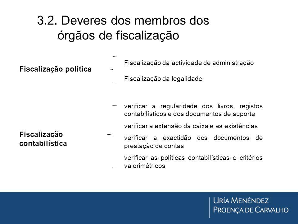 3.2. Deveres dos membros dos órgãos de fiscalização Fiscalização política Fiscalização da actividade de administração Fiscalização da legalidade Fisca