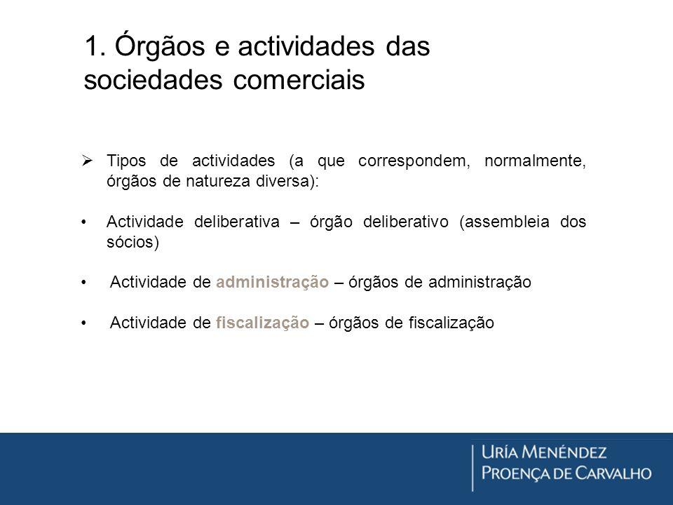 1. Órgãos e actividades das sociedades comerciais Tipos de actividades (a que correspondem, normalmente, órgãos de natureza diversa): Actividade delib