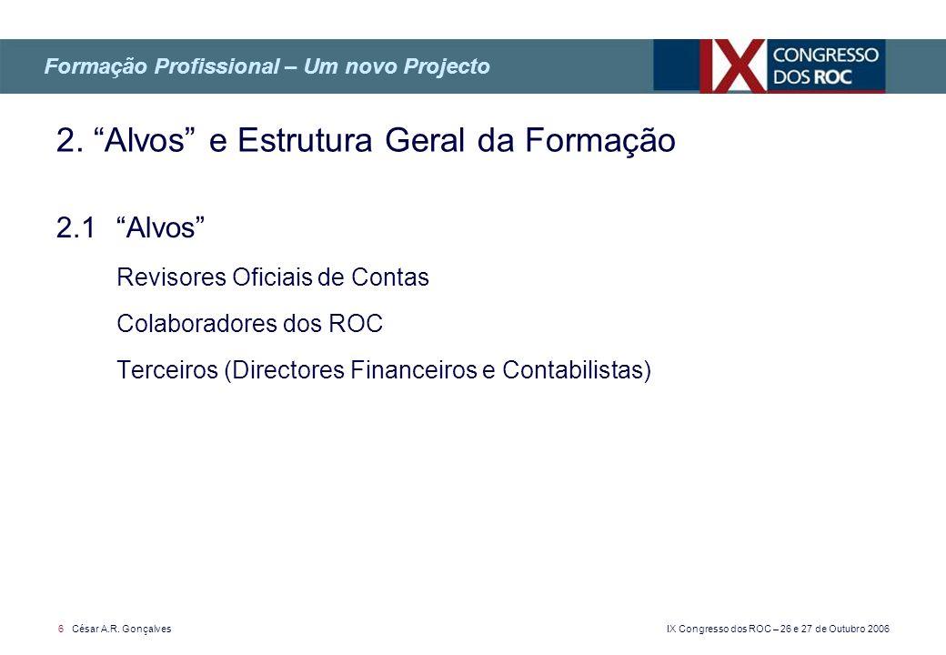 IX Congresso dos ROC – 26 e 27 de Outubro 2006 6 César A.R. Gonçalves 2.1 Alvos Revisores Oficiais de Contas Colaboradores dos ROC Terceiros (Director