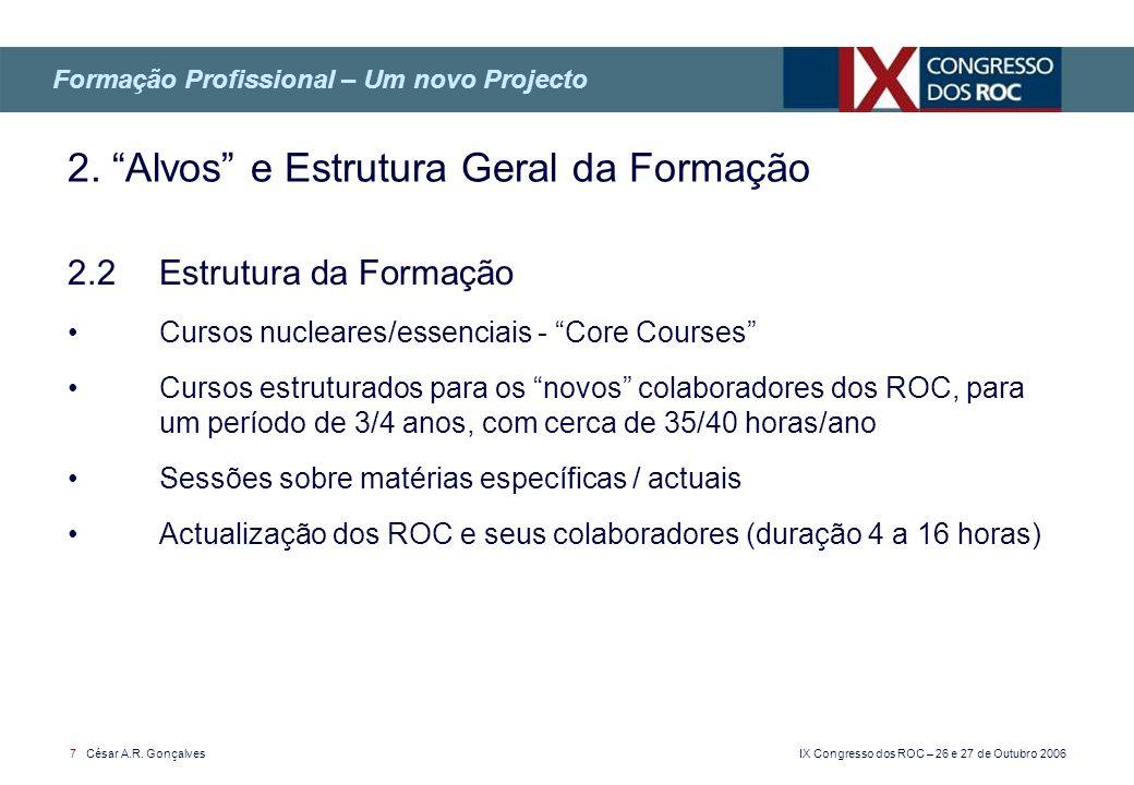 IX Congresso dos ROC – 26 e 27 de Outubro 2006 7 César A.R. Gonçalves 2.2 Estrutura da Formação Cursos nucleares/essenciais - Core Courses Cursos estr