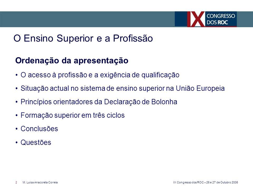 IX Congresso dos ROC – 26 e 27 de Outubro 2006 2M. Luisa Anacoreta Correia Ordenação da apresentação O acesso à profissão e a exigência de qualificaçã