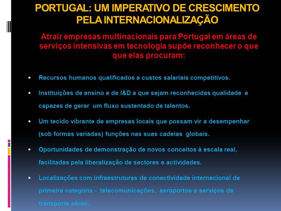 PORTUGAL: UM IMPERATIVO DE CRESCIMENTO PELA INTERNACIONALIZAÇÃO Atrair empresas multinacionais para Portugal em áreas de serviços intensivas em tecnol