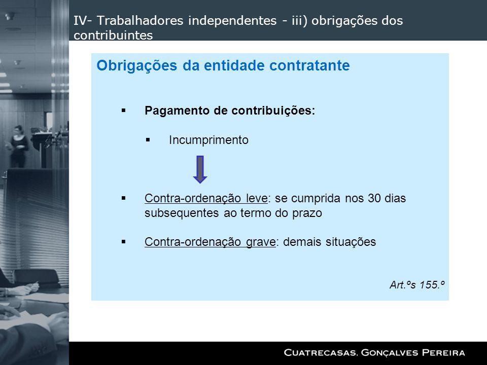 IV- Trabalhadores independentes - iii) obrigações dos contribuintes Obrigações da entidade contratante Pagamento de contribuições: Incumprimento Contr