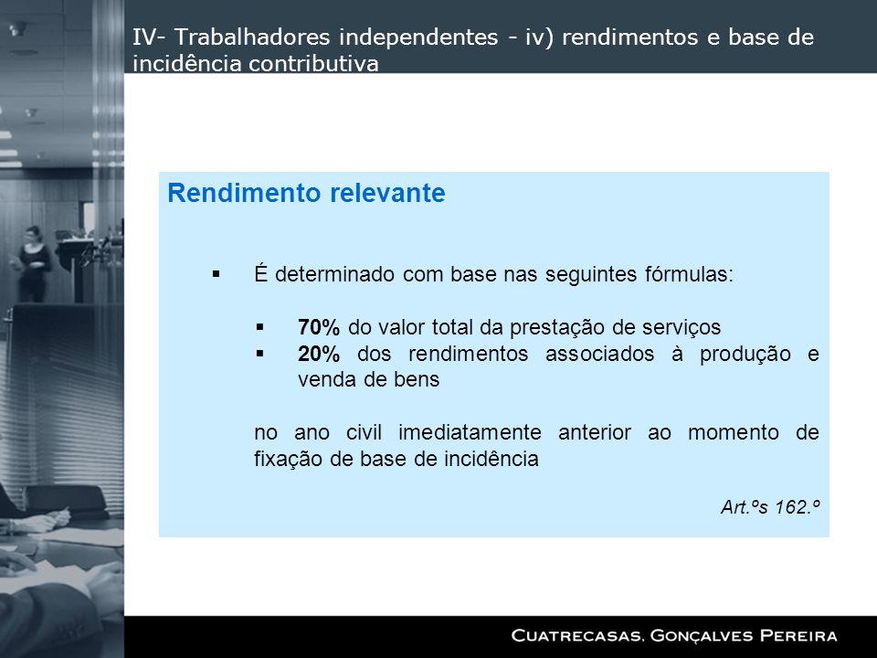 IV- Trabalhadores independentes - iv) rendimentos e base de incidência contributiva Rendimento relevante É determinado com base nas seguintes fórmulas