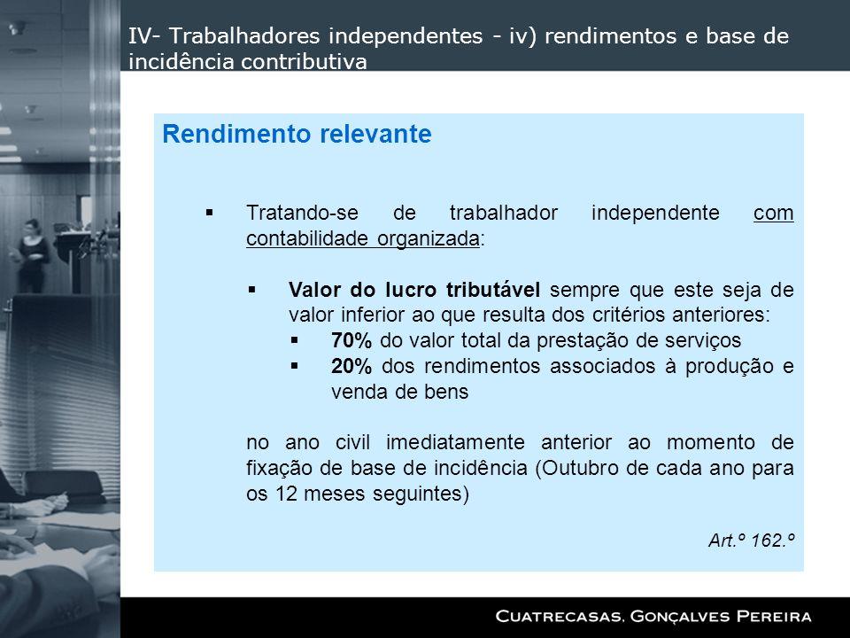 IV- Trabalhadores independentes - iv) rendimentos e base de incidência contributiva Rendimento relevante Tratando-se de trabalhador independente com c