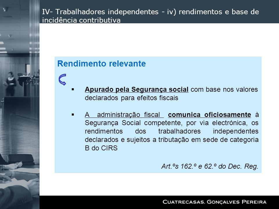 IV- Trabalhadores independentes - iv) rendimentos e base de incidência contributiva Rendimento relevante Apurado pela Segurança social com base nos va