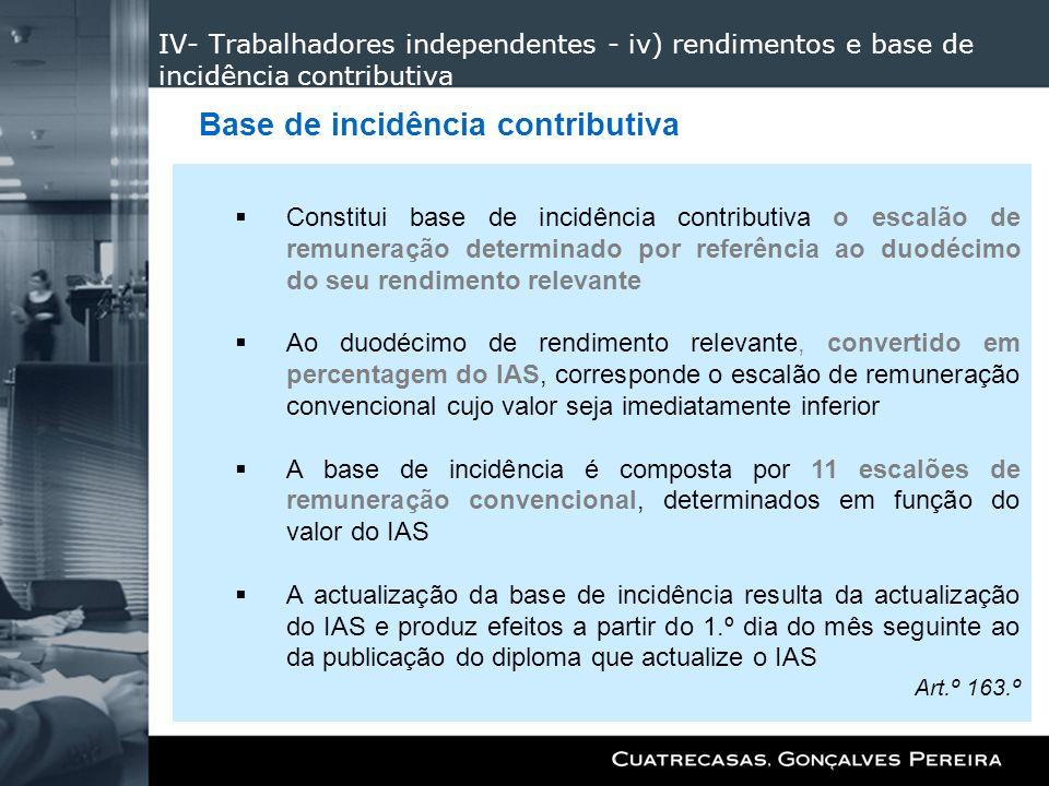 IV- Trabalhadores independentes - iv) rendimentos e base de incidência contributiva Constitui base de incidência contributiva o escalão de remuneração