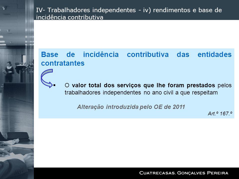 IV- Trabalhadores independentes - iv) rendimentos e base de incidência contributiva Base de incidência contributiva das entidades contratantes O valor