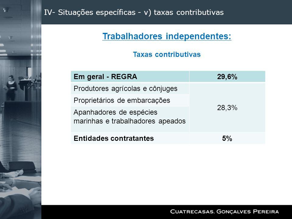 IV- Situações específicas - v) taxas contributivas Trabalhadores independentes: Taxas contributivas Em geral - REGRA29,6% Produtores agrícolas e cônju