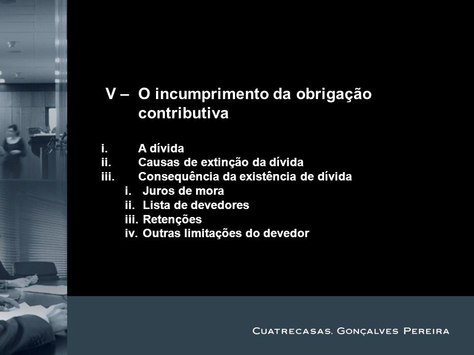 Title Subtitle IV – O incumprimento da obrigação contributiva i.A dívida ii.Causas de extinção da dívida iii.Consequência da existência de dívida i.Ju