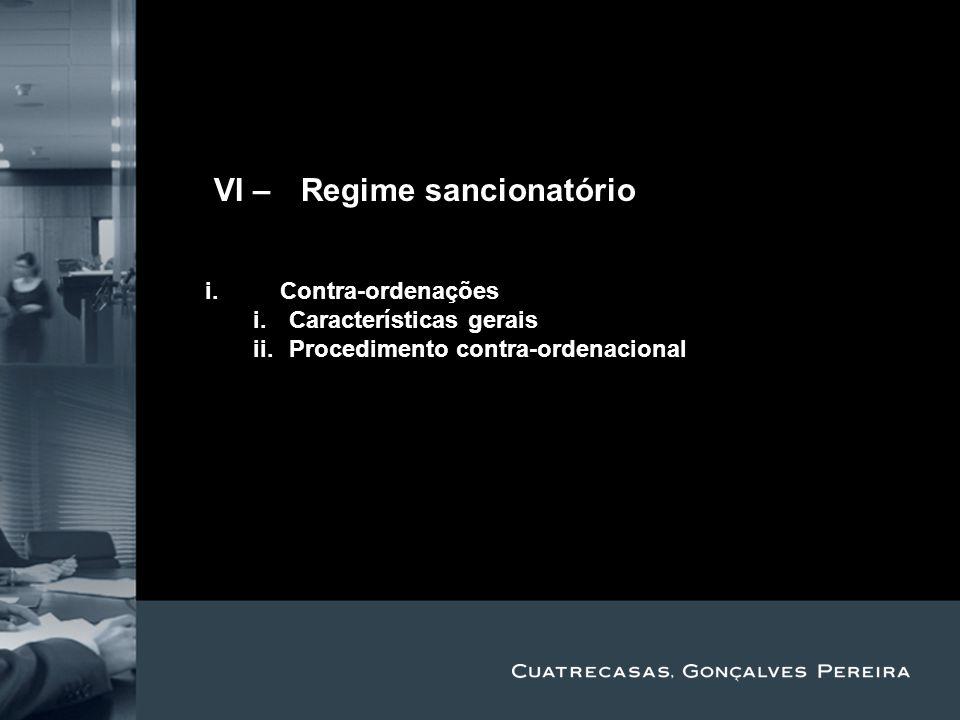 Title Subtitle IVI – Regime sancionatório i.Contra-ordenações i.Características gerais ii.Procedimento contra-ordenacional
