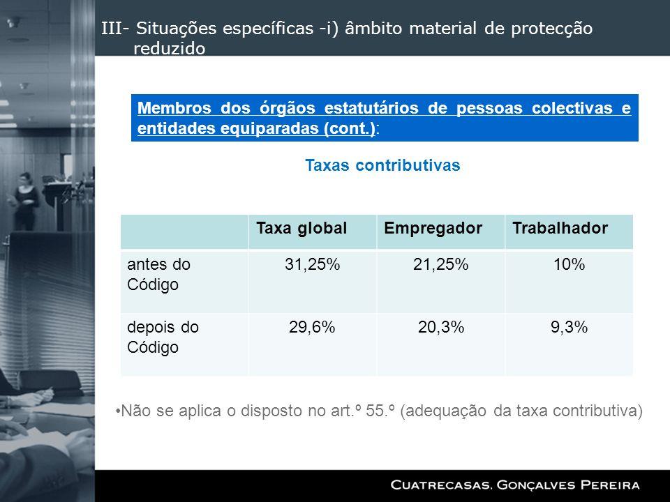 III- Situações específicas -i) âmbito material de protecção reduzido Taxas contributivas Não se aplica o disposto no art.º 55.º (adequação da taxa con