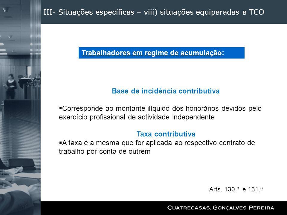 III- Situações específicas – viii) situações equiparadas a TCO Base de incidência contributiva Corresponde ao montante ilíquido dos honorários devidos