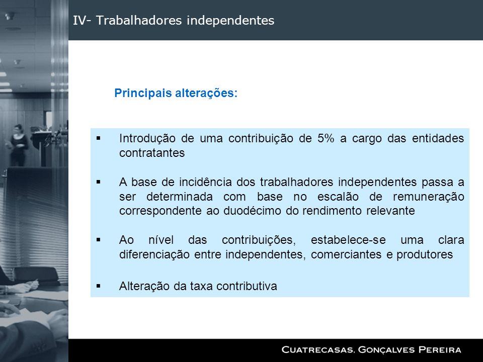 IV- Trabalhadores independentes Introdução de uma contribuição de 5% a cargo das entidades contratantes A base de incidência dos trabalhadores indepen