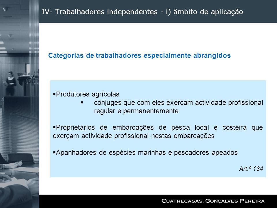 IV- Trabalhadores independentes - i) âmbito de aplicação Produtores agrícolas cônjuges que com eles exerçam actividade profissional regular e permanen